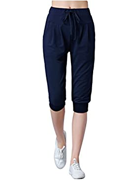 Mujer Anchos Casuales Sport Jogging Pantalones De Yoga Capri Pantalon Harem Tallas Grandes Azul marino XL