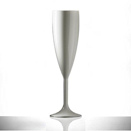 Lot de 12 flûtes de champagne en plastique polycarbonate blanc de 187,1 grammes, de qualité alimentaire – À réutiliser des centaines de fois | Pratiquement incassables – rigides