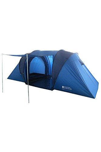 Mountain Warehouse Venus 4-Personen-Zelt - wasserabweisendes Überdach, Campingzelt mit versiegelten Nähten, Familienzelt, Schutzabdeckung - Für Sommerreisen, Festival Blau