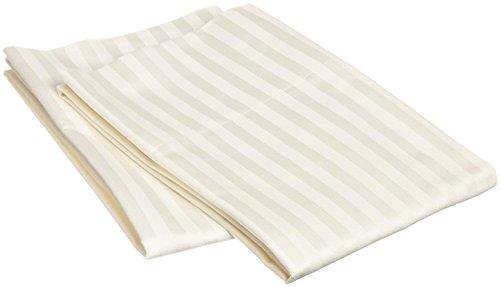 Linenwala Kissenbezug, 100% ägyptische Baumwolle, Fadenzahl 400 Standard Ivory Stripe -
