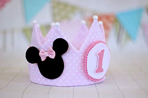 Corona de cumpleaños Minnie Mouse de tela, se puede personalizar con el nombre