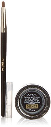 L'Oréal Paris Super Liner Gel Intenza, 01 Pure Black - Augen Makeup Set mit geschmeidigem Gel Eyeliner und einem präzisen Pinsel - farbintensiv und wasserfest, bis zu 24h Halt!, 1er Pack (1 x 1,15 ml)