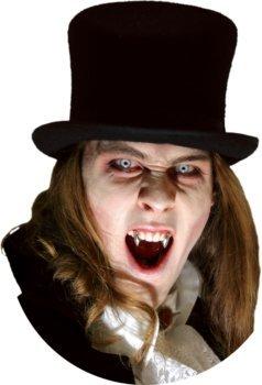 Chrome Vampir Zähne Deluxe-Set inkl. Dentalmasse - hochwertige Dracula Silber Eckzähne für Halloween - wiederverwendbar (Vampir Diy Kostüme Halloween)