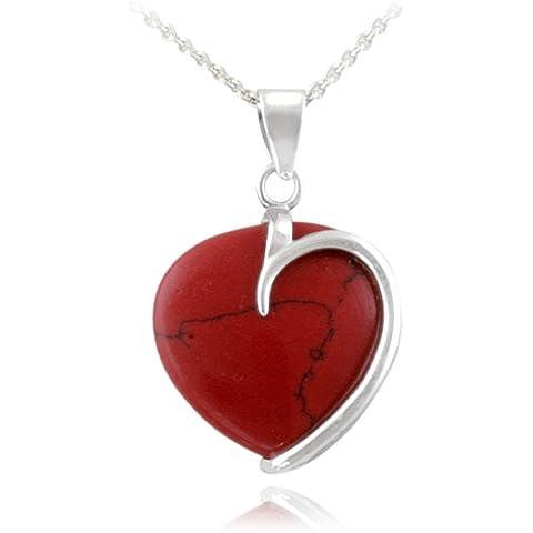 Silver Ice Collanina con pendente a forma di cuore, base in metallo e diaspro rosso, in argento Sterling
