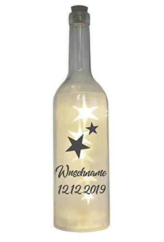 WB wohn trends LED-Flasche mit Motiv ~ Sternenkind Wunschname personalisiert ~ grau ~ 29cm ~ Flaschen-Licht Lampe mit Text Spruch Trauer