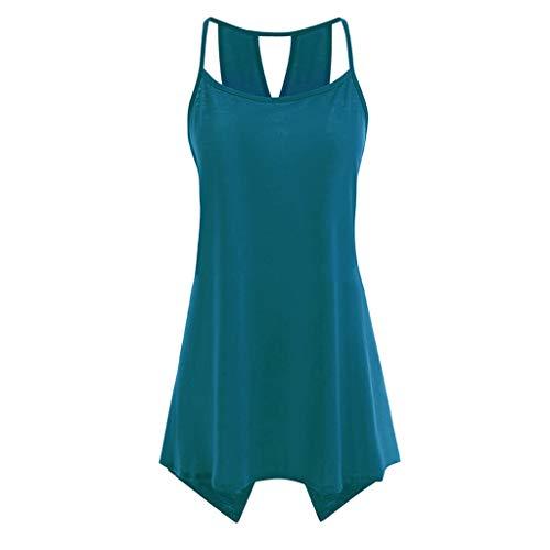 rauen Weste O-Ausschnitt Reine Farbe Bluse ärmellose Leibchen lose Tops,Tank Trägertop T-Shirt Bluse Camisole ärmellosesGrün 4XL ()
