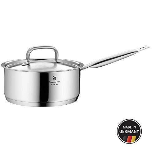 WMF Gourmet Plus Stielkasserolle mit Metalldeckel 16 cm, Kochtopf 1,4l, Cromargan Edelstahl mattiert, Innenskalierung, Dampföffnung, induktionsgeeignet