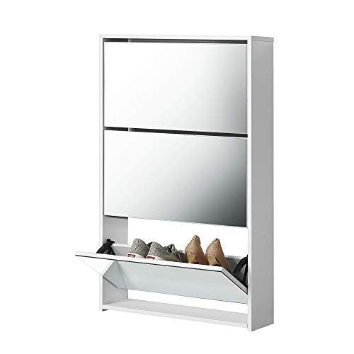 [en.casa] Zapatero con Espejo - 102 x 63 x 17 cm - Mueble Zapatero - Organizador de Zapatos - Blanco