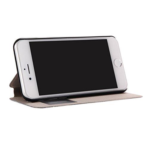 Voguecase Pour Apple iPhone 7 4,7 Coque, Fenêtre Étui en cuir synthétique chic avec fonction support pratique pour iPhone 7 4,7 (plume grise 01)de Gratuit stylet l'écran aléatoire universelle tuyau chat