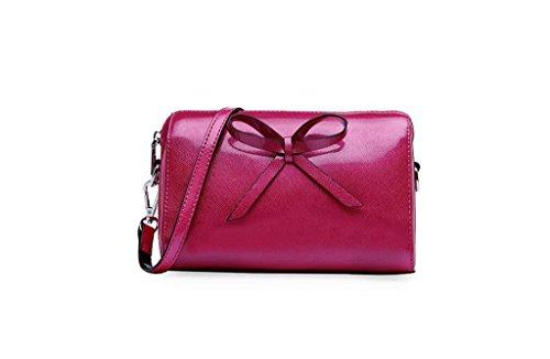 Nuove borse in pelle, borse diagonale fiocco, piccola borsa quadrata, borse della spalla rose Red