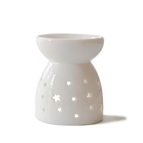 HwaGui Candela Bruciatore di Olio Essenziali Ceramico Diffusore Design a Stella Vuota Aromaterapia Portacandela Lampade Aroma Bianco(H13cm)