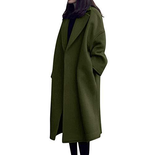 iHENGH Damen Herbst Winter Bequem Mantel Lässig Mode Jacke Frauen Womens Winter Revers Wollmantel Trench Jacket Langarm Mantel Outwear(Armeegrün, M) Cropped Trench Jacke