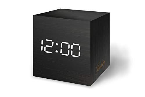 Bashley Reloj Despertador de Madera Luz LED Digital Mini Cubo Minimalista con Fecha y Temperatura Control de Sonido Mesa Despertador para Viajes, Dormitorio de los niños, Hogar, Oficina-Negro