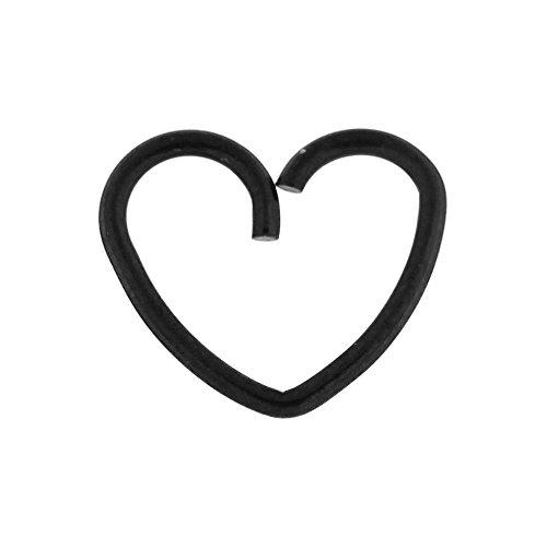 Schwarz eloxiert Herz 18 Gauge 316L chirurgischer Stahl Knorpel einzelne Schließung Ring Helix Daith Piercing