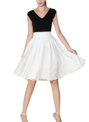 CuteRose Women All-Match Solid Hi-waist Classics Bodycon Short A-line Skirt M White -