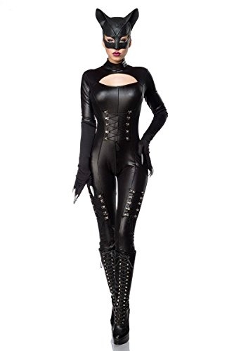 Sexy Catwoman Kostüm Cat Woman Superheld Held Heldin Schwarz Set Karneval S-3XL, (Catwoman Kostüm Hot)