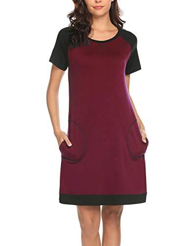 MAXMODA Damen Nachthemd Nachtkleid Rund-Ausschnitt Kurzarm Star Print Sleepwear Nachtwäsche Kleid Casual mit Tasche Weinrot S -