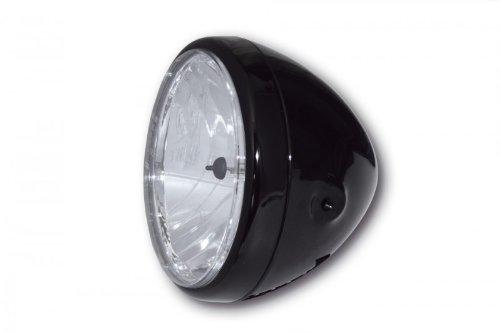 Motorrad 7 Zoll Scheinwerfer RENO Metallgehäuse hochglanz schwarz klares Glas Prismenreflektor rund seitliche Befestigu - Hochglanz Schwarz Glas