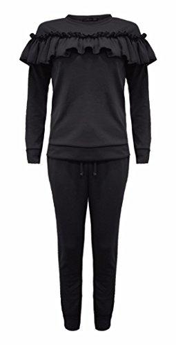 FK Styles - Lange Ärmel Krause Detail Loungewear Anzug Set - Frauen