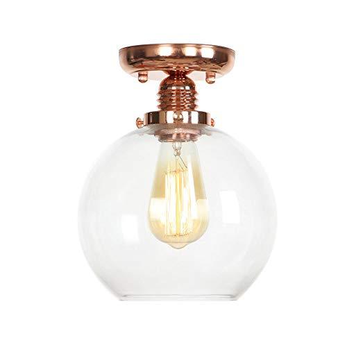 Moderne Retro Roségold Metall Transparent Glas Decken Lampenschirm Loft Cafe Küche Deckenleuchte(Keine Glühbirne) -