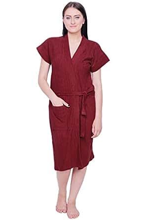 Gurunanak Fashion Women's Red Cotton Bathrobe