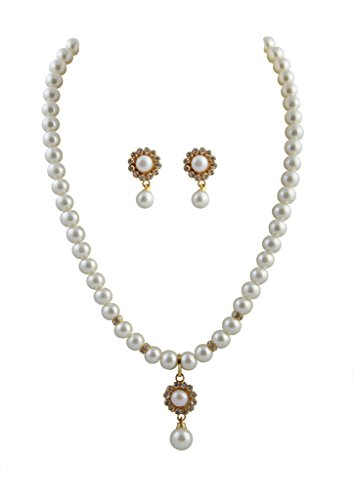 Classique Silver Alloy With Gold Plated Round Pearl Pendant Necklace Set For Women(Cp300)  available at amazon for Rs.199