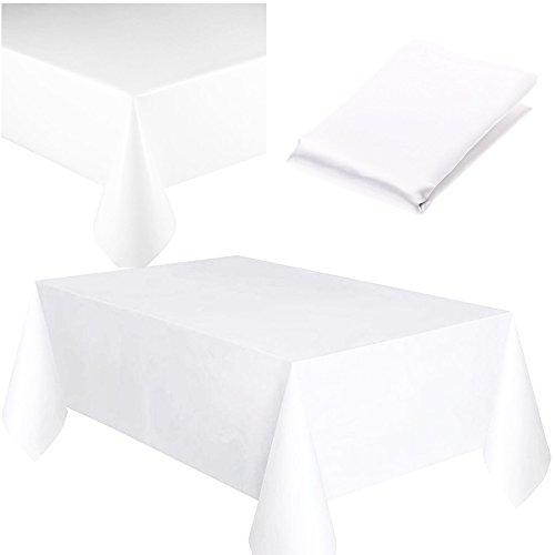 Tischdecke aus Kunststoff, abwischbar, quadratisch, wiederverwendbar, wasserdicht, für Gastronomie, Event, Bankett, Buffet, als Tischdekoration, plastik, weiß, Einzelbett
