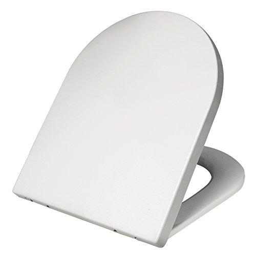 WOLTU WS2721-a Premium WC-Sitz Weiß, Toilettensitz mit Absenkautomatik, rostfreier Fix-Clip Edelstahlbefestigung, Duroplast, antibakteriell