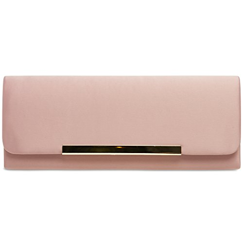 CASPAR TA346 Damen elegante Clutch Tasche / Abendtasche, Farbe:rosa;Größe:One Size (Satin Abendtasche Handtasche)