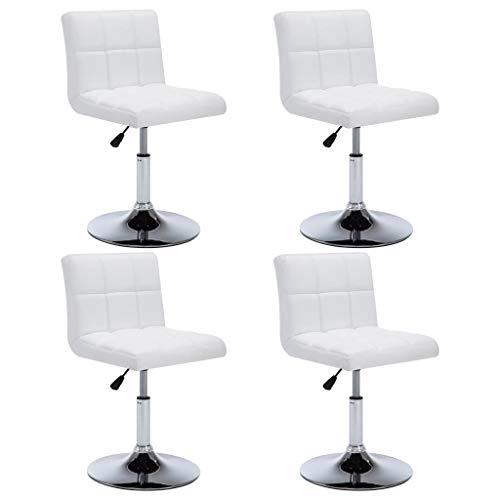 Festnight Chaise Pivotante à Dîner 4 pcs Similicuir Design Moderne pour Salles de Bain, Bureaux, Salon 50x43x85 cm Blanc