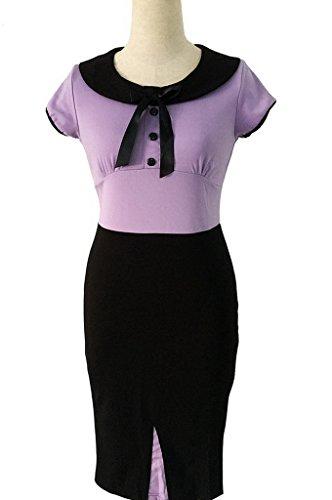 Smile YKK Rundhals Kurzarm Damen Sommerkleid Partykleid Bleistiftkleid Business Kleid Bodyconkleid Cocktailkleid Violett