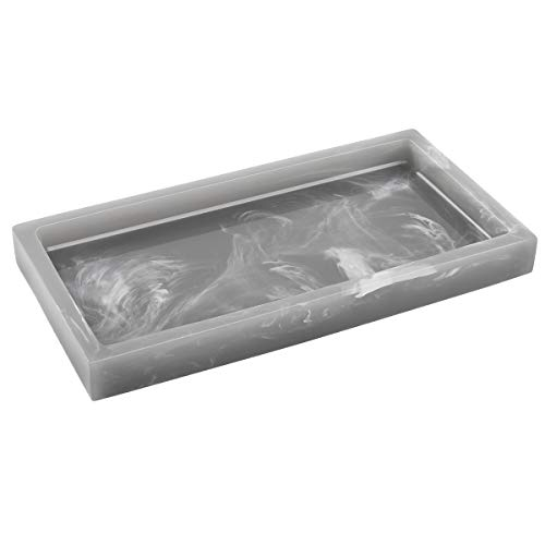 Luxspire Toilet Tank Storage Tray, Mini Bathroom Vanity Organizer Rectangular Resin Tray Plate Jewelry Holder for Tissues, Candles, Soap, Towel, Plant, etc - Inchiostro Grigio