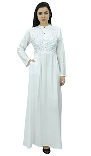 Bimba Damen Mandarin Kragen Plain Jilbab Kleid Mit Taschen Full Sleeve Maxi