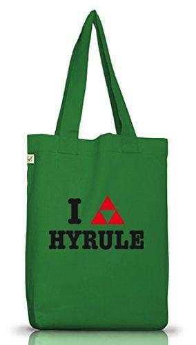Shirtstreet24, I LOVE HYRULE, Jutebeutel Stoff Tasche Earth Positive Moss Green