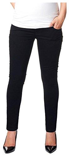 Love2Wait Superskinny Damen Schwangerschaftsjeans Umstandshose Five-Pocket-Jeans elastisch tiefer Bund schmaler Schnitt- Gr. XL (Herstellergröße: 32/34), Schwarz