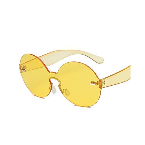 WJMLHLKK Transparente Runde Randlose Sonnenbrille-Frauen-Weinlese-Sonnenbrille-Dame Men Clear Lens Uv400 Übergroße Farbtöne
