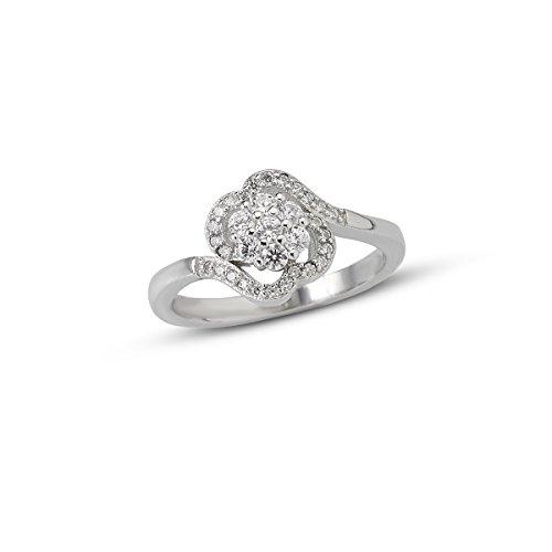 Izaara Damen 925 Sterling Silber Zirkonia Diamant Blume Cluster Ring für Frauen Größe 6