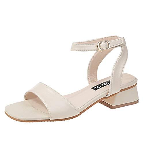 iLPM5 Damen Elegant Lässig Einfarbig Schnallenriemen Offene Zehen Blockabsätze Sandalen Schuhe Mittlerer Absatz Sandalen(Beige,34) -