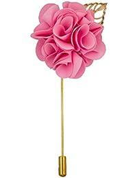 Avaron Projekt Handmade Pink Flower Bunch With Gold Leaf Lapel Pin /Brooch For Men
