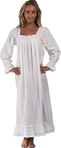 The 1 for U 100% Baumwolle Bodenlang Nachthemd - Martha - S-XXXXL - Weiß, M