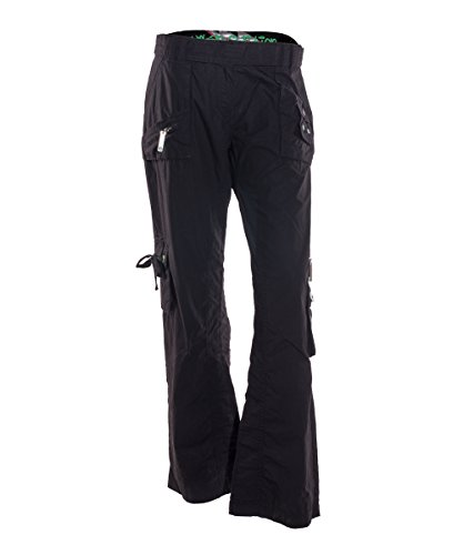 Ladies Casual Cargo Trousers Black Pants with Pockets Loose Fit UK 8-16 (16)