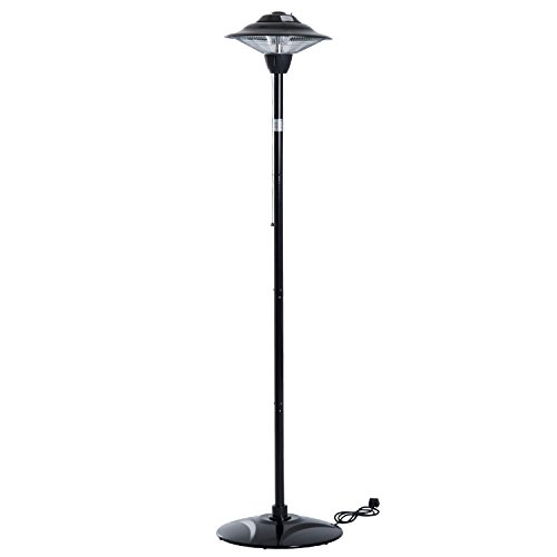 Outsunny 1500W Electric Patio Heater Free Standing Outdoor Garden Halogen Heating Light Warmer Pull Switch