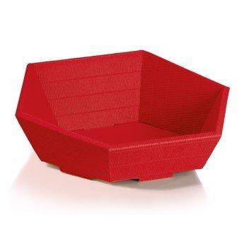 10x-cesto regalo swing rosso, cesto, cestino, cestino in cartone ondulato 6rettangolare-dimensioni: mini regalo di natale