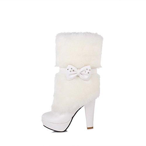 AgooLar Damen Ziehen Auf Hoher Absatz Blend-Materialien Niedrig-Spitze Stiefel mit Schleife Weiß