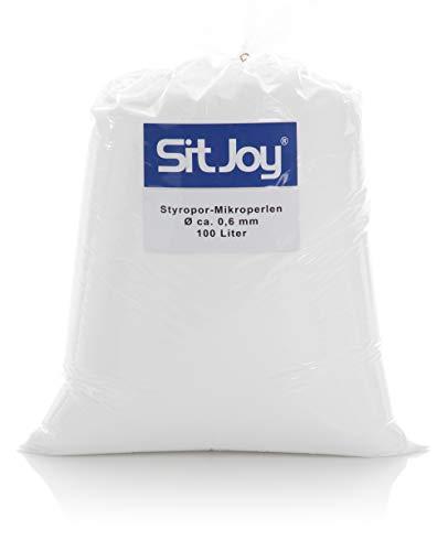 Sitjoy Sitzsack-Füllung | Styropor-Mikro-Perlen [Ø ca. 0,6 mm] | 100 Liter | Nachfüllbeutel - EPS Styropor-Kugeln und Kügelchen für Kissen