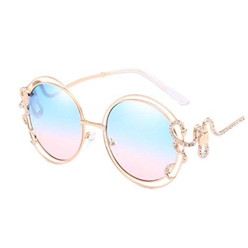 YANJING Weibliche Modelle Big Box Sonnenbrille Double Circle Hohl Sonnenbrille Diamond Unregelmäßige Gebogene Beine Damen Brille ZYXCC (Farbe : Blue+Powder)