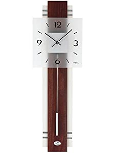 Reloj De Péndulo AMS 7303–Reloj de pared con péndulo de cuarzo, dorso de madera Nogal/Blanco de AMS
