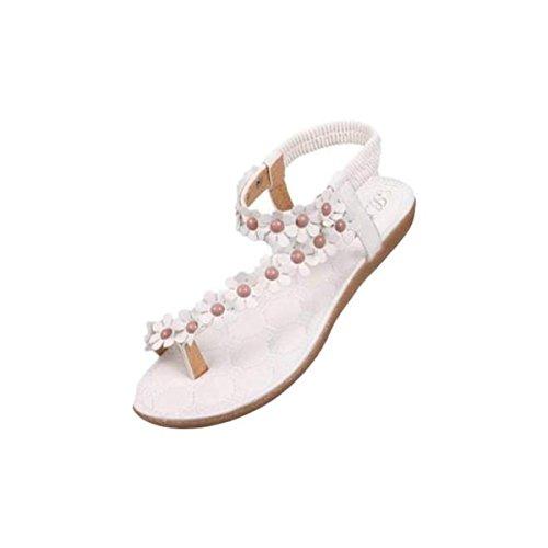 Sandalen Damen Sommer Elegant Böhmen Blumen-Perlen Flip-Flop Schuhe Flache Sandalen Schuhe Mode Strandschuhe Zehentrenner Pantoletten Riemchensandalen (40, B)