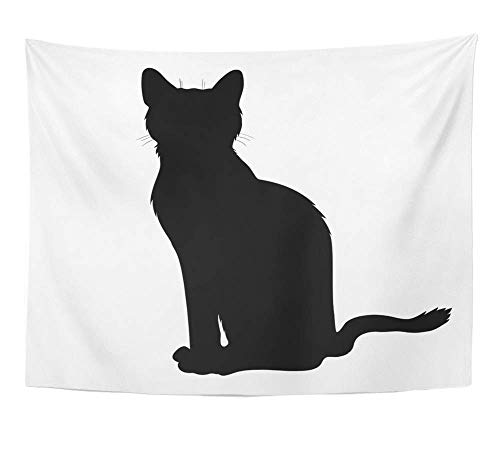 AOCCK Wandteppiche, Tapestry Wall Hanging Shadow Black Sit Cat Silhouette Graphic Halloween Activity Animal Clip Domestic 60