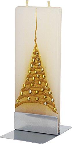 De Navidad dorado Flatyz x-diseño de Navidad, doble mecha fina plano vela decorativo y funcional